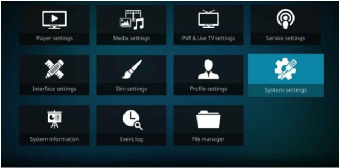 Select system settings in Kodi's setting menu.