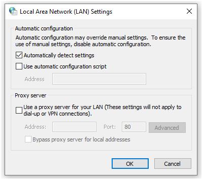 Check the proxy settings 2